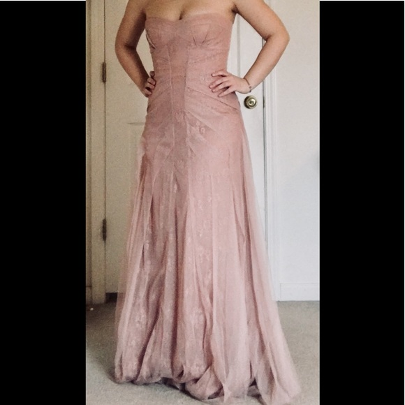 Blush Mauve Pink Dusty Rose Lace Prom Dress